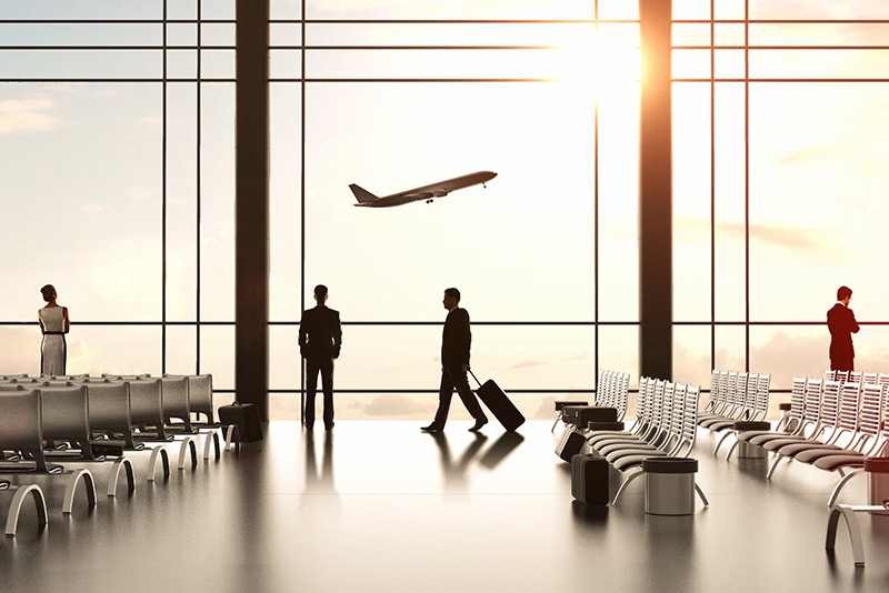 stockphoto airport with plane taking off in background