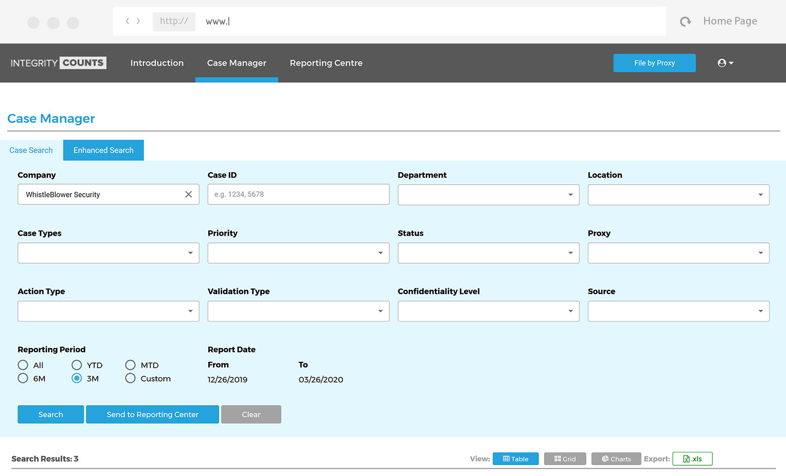 screenshot of web interface for case manager case search