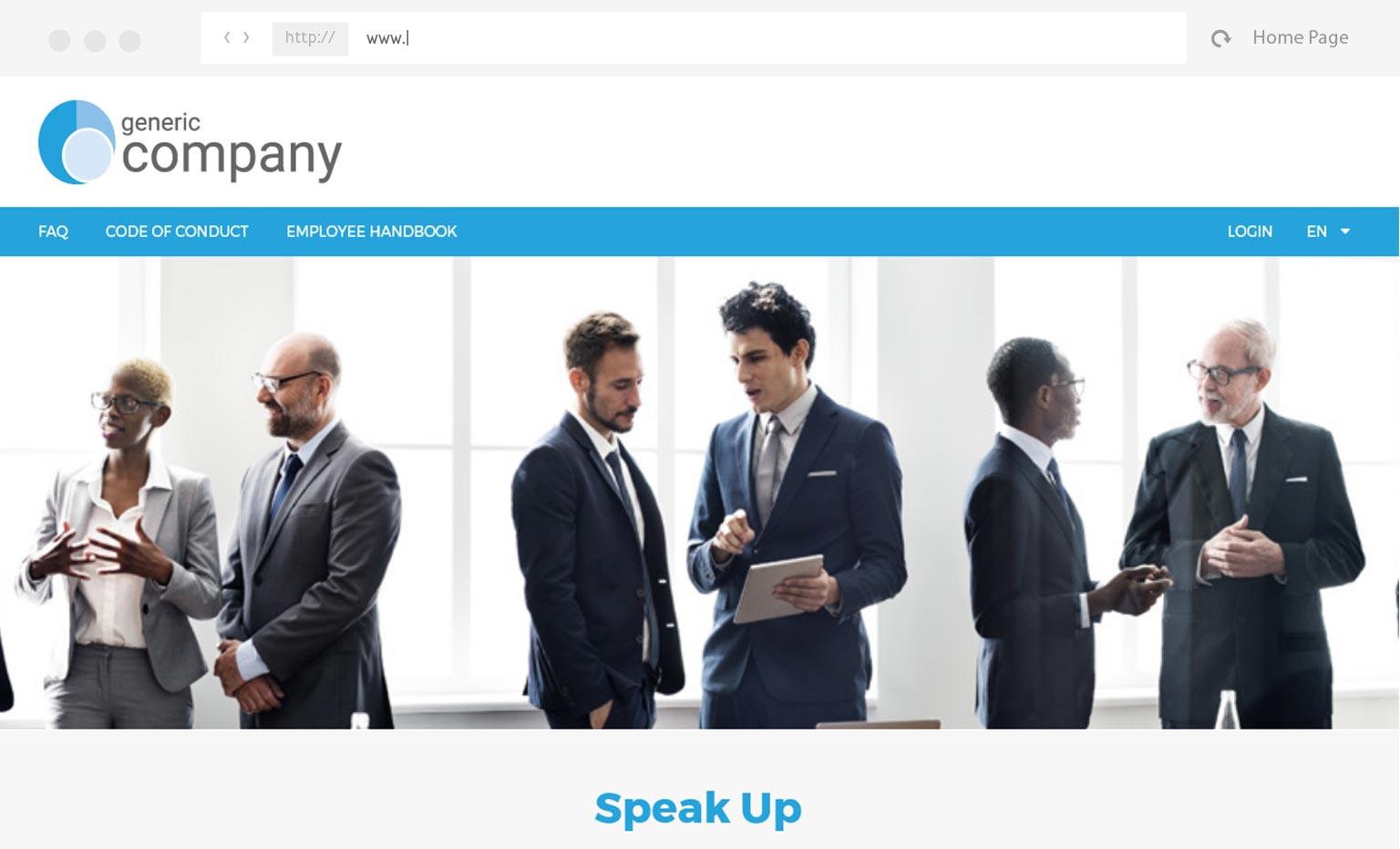 mockup custom landing page for integritycounts application