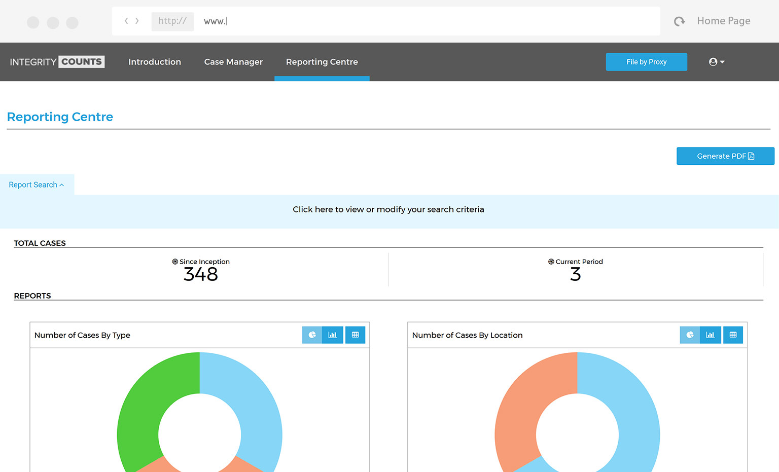 screenshot of reporting centre in integrity counts application